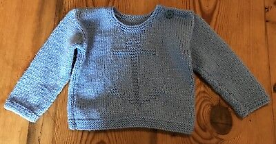 Vintage Retro Baby Jumper 3 - 6 Six Months Anchor Blue Button Handmade Sailor