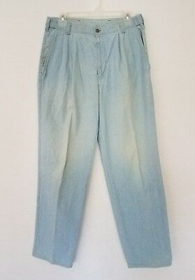 """VTG Levis Dockers Womens 32"""" x 32"""" Jeans High Adjustable Waist Pleated Chambray"""