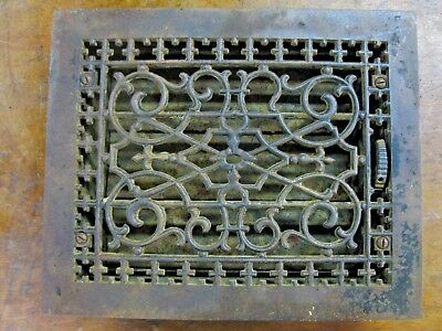 antique 8 x 10 in. Grate, Cast Iron for floor or wall heating, vent register