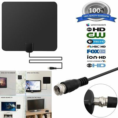 Flat HD Digital Indoor Amplified TV Antenna HDTV with Amplifier 50 Miles VHF/UHF