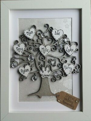 Crystal Wedding Anniversary Gift 15th 15 Years Personalised Family Tree