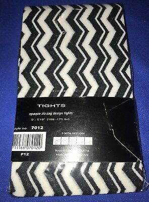 6f48fba326d1b Music Legs Opaque Zig Zag Design Striped Tights Black White One Size NWT