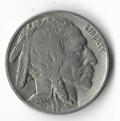Rare Very Old Antique 1935 US Buffalo Indian Nickel Collection Coin USA 5 Cent