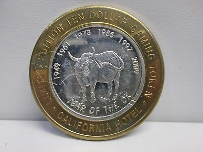California Hotel- Year Of The Ox .999 Fine Silver $10 Gaming Token
