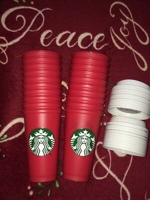 Lot 20 NEW STARBUCKS HOLIDAY RED REUSABLE CUP 2018 with DRINK DISCOUNT ** Read
