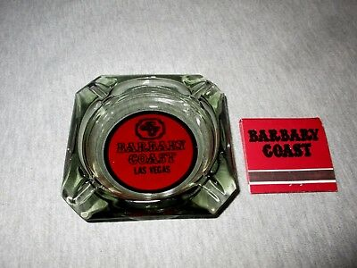 Barbary Coast Casino-Las Vegas-Vintage Smoked Glass Ashtray & Matchbook