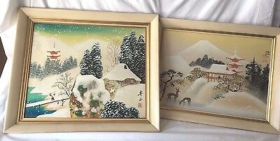 Pair of Circa 1952 ~ Korean War Era ~ Signed Japanese Framed Paintings on Silk