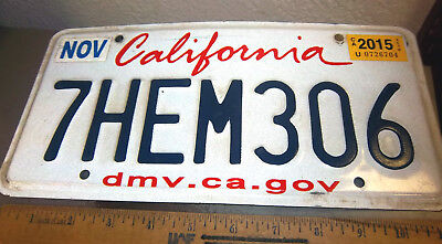 California Lipstick style License Plate, Embossed letters, 7HEM306  expired 2015