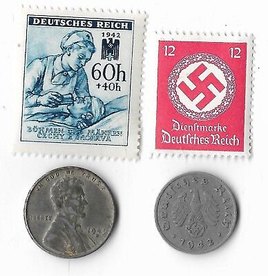 Rare Old WWII WW2 US Germany Eagle Coin Stamp Great World War Collection Lot I16