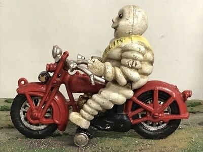 "RARE Vintage Retro Michelin Man On Motorcycle 8"" Cast Iron Metal Figure"