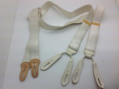 HICKOK SILK SUSPENDERS BRACES WHITE with GOLD HARDWARE LEATHER BUTTON FITTINGS