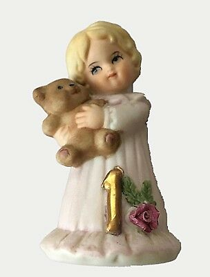 1980s Enesco Growing Up Figurine Girl with Bear 1 Year Old