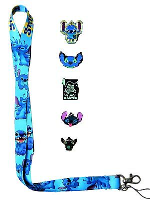 Stitch Lanyard and 5 Lilo & Stitch Themed Disney Trading Pins Set - Brand NEW