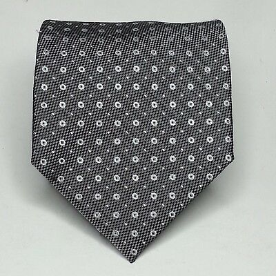 "Beau Brumel Men Dress Tie 3.75"" wide 59"" long Silk Necktie  Gray White Dots Hand"