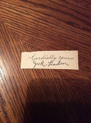 """Jack London Signed Album Page W/ """"cordially Yours"""" American Novelist Died 1916"""