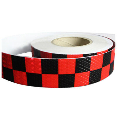 1M Reflective Safety Warning Conspicuity Tape Sticker, Red+black A2K6) M6