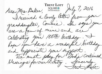 Trent Lott Hand Written And Signed Letter With Original Envelope