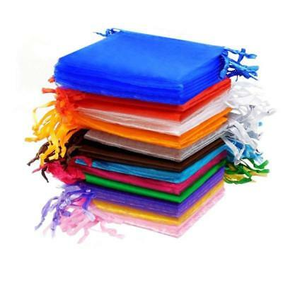 100 Pcs Organza Pouch Bags Gift Candy Bags Jewelry Pouches Multi-Color 7x9cm