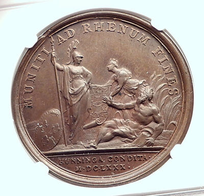 1680 FRANCE King LOUIS XIV Huningen Founding Antique French MEDAL NGC i73303