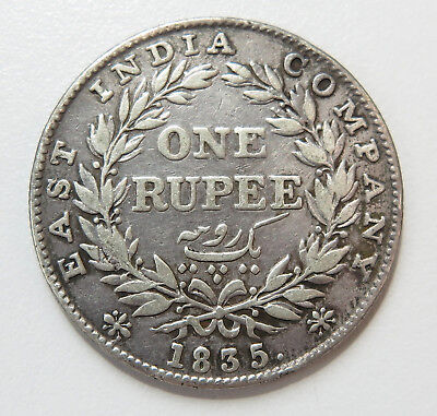 East India Company 1835 King William IV One Rupee Silver Coin