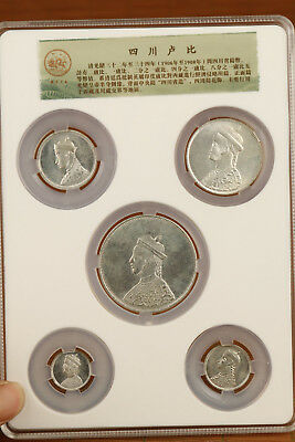 Chinese Old si chuan Province Handmade Five collection coins Statue