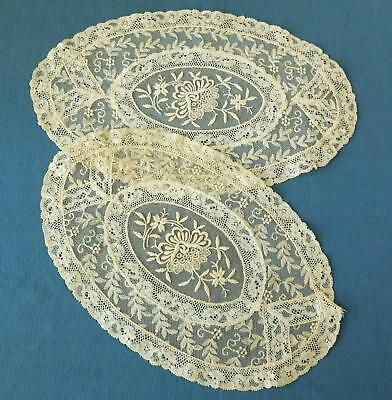 2 Lovely Vtg Antique Normandy Lace Doilies