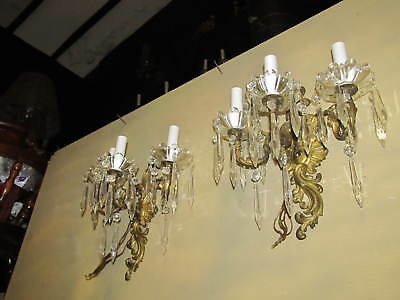 2-1900's SOLID BRASS PERFECT GLASS BOWL 3LIGHTS CRYSTALS REWIRED ANTIQUE SCONCES