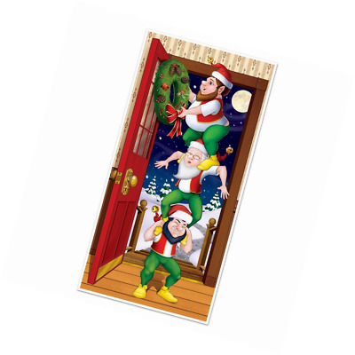 Funny Santa Elf Totem CHRISTMAS ELVES DOOR COVER POSTER Holiday Mural Decoration