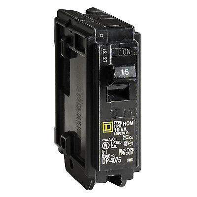 SQUARE D BY SCHNEIDER ELECTRIC Homeline 15-Amp Single-Pole Circuit Breaker