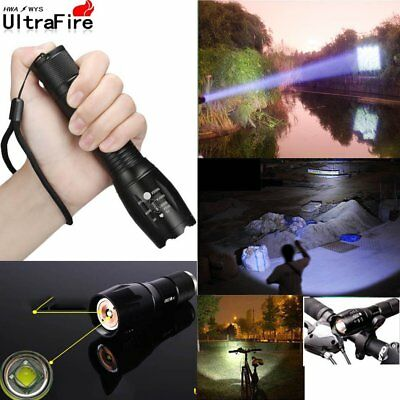 Ultrafire LED Zoomable Flashlight 50000LM X-XM-L T6 Tactical 18650 Torch Clip