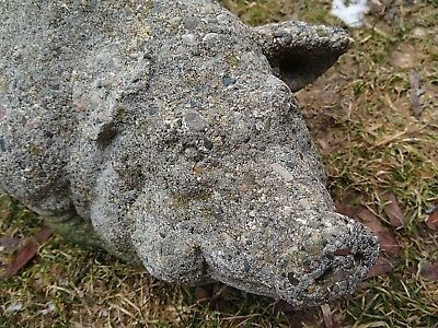 "Vintage Cement Garden Statue Large 15"" Pig With Patina and Chips"