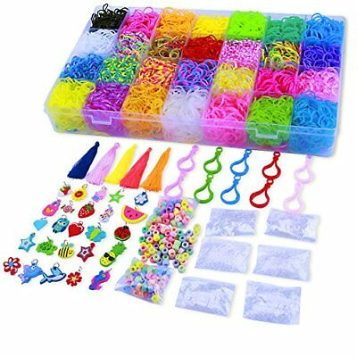 11000 Pcs Colorful Rainbow Rubber Bands Refill Kit Set Box - Loom Bands Large ,