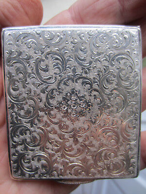 Vintage 1920's - 30's Sterling Silver Etched Compact 107g w/ Mirror Exceptional