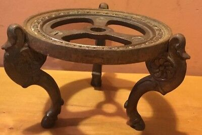 Rare Antique Ornate Cast Iron  Three Legged Stand