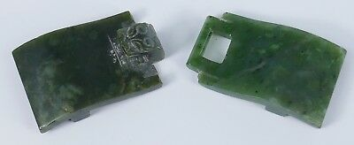 Fine Old Chinese Spinach Jade Belt Buckle Carving Sculpture Art