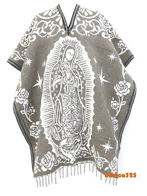 MEXICAN PONCHO , VIRGEN DE GUADALUPE ,Blanket Gaban ,One Size, BROWN