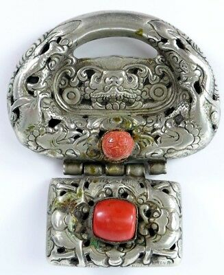 Fine Old Chinese Silver & Turquoise Belt Buckle Scholar Work Of Art