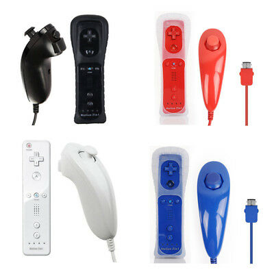 2in1 Motion Plus Remote+Nunchuck Controller for Nintendo Wii +Silicon Case Strap