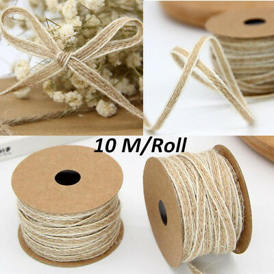 10M/Roll Natural Jute Burlap Hessian Ribbon Lace Trims Tape Rustic Wedding Decor