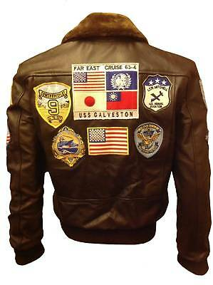 Tom Cruise Topgun A2 Bomber Real Leather Jacket Stylish Real Fur Jacket Xs-4Xl