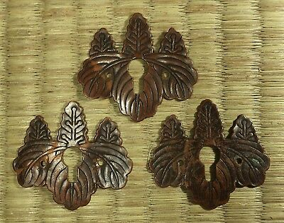 Copper Keyholes / Paulownia Design / Set of 3 / Japanese / Antique