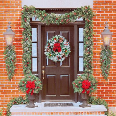 Hanging Christmas Wreath Garland Ball Cone Xmas Ornaments Window Door Decor