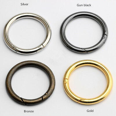 5Pcs Round Push Gate Snap Open Hook Spring Ring Keychain Carabiner Gold 10mm