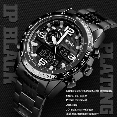SKMEI Mens Black Steel Fashion Digital Dual Time Watch 304 Stainless Steel Strap
