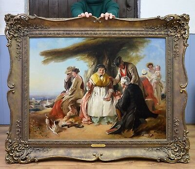 Very Fine Large Original 19thC Oil Painting of Victorian Life Royal Academy 1851