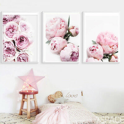 Modern Peony Canvas Painting Poster Wall Picture Home Bedroom Hanging Decor New