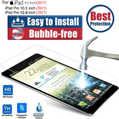 "For New iPad 9.7"" 2017 9H Slim Full Coverage Tempered Glass Screen Protector US"