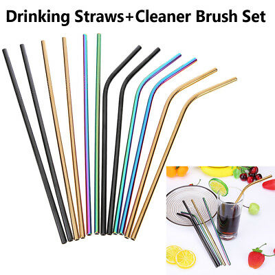 3x Stainless Steel Metal Drinking Straw Straws Bent Reusable Washable w/ Brushes
