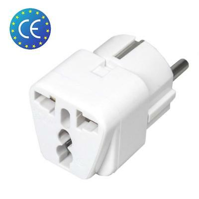 Adaptateur Secteur Prise Anglaise UK vers FR France Europe Voyage Adapter Blanc