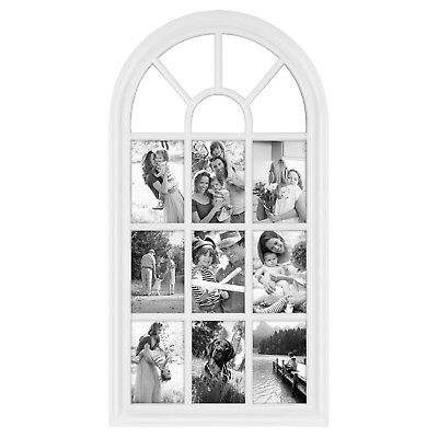 """28"""" x 14"""" White Arched Window Pane Collage Photo Country Rustic Picture Frame"""